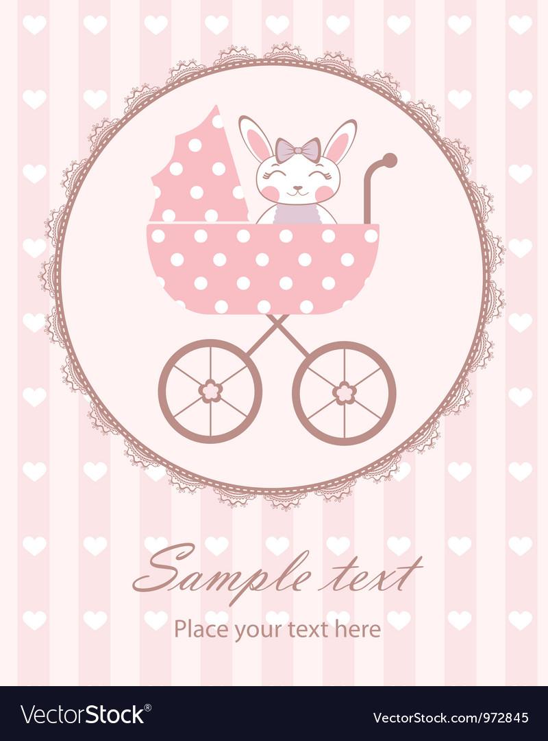 Bunny baby girl in frame vector | Price: 3 Credit (USD $3)