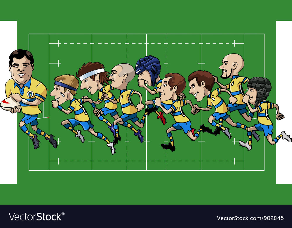 Cartoon rugby team vector | Price: 3 Credit (USD $3)