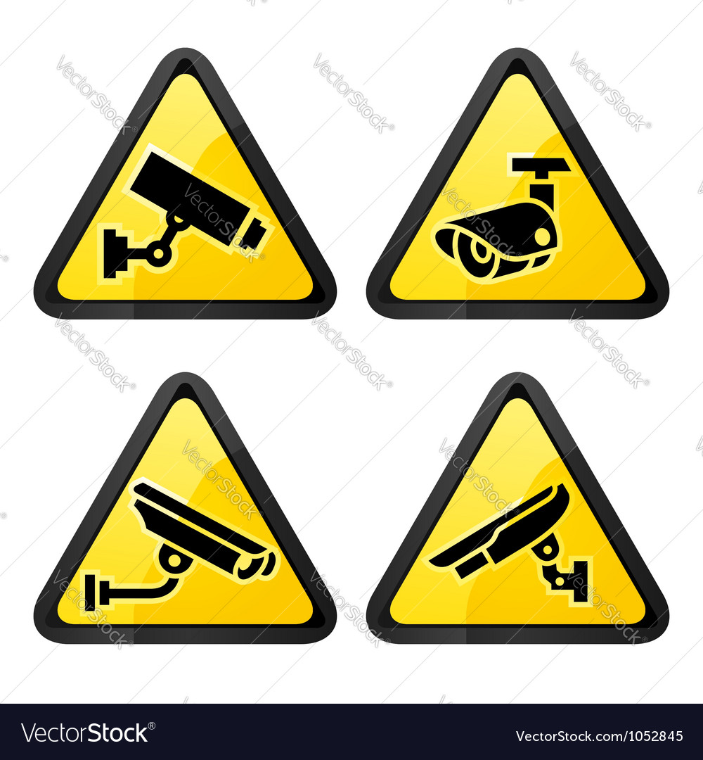 Cctv triangular labels set symbol security camera vector | Price: 1 Credit (USD $1)