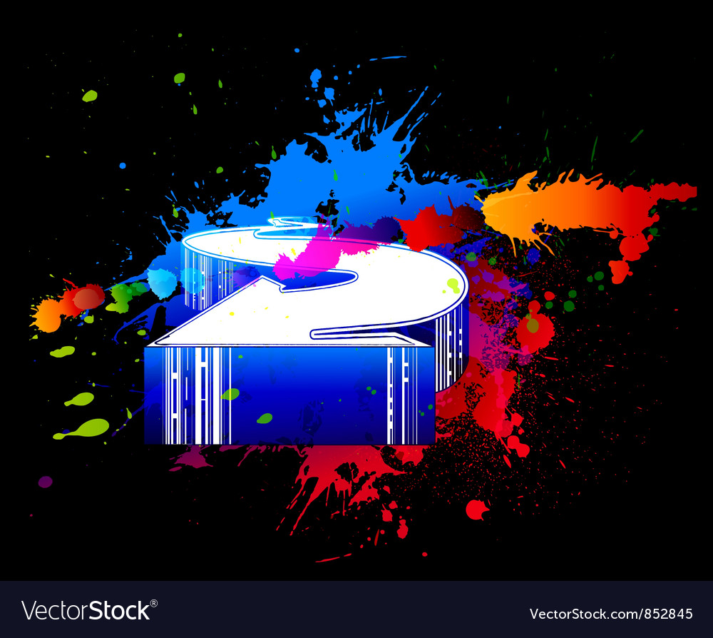 Colorful splatter with 3d arrow vector | Price: 1 Credit (USD $1)