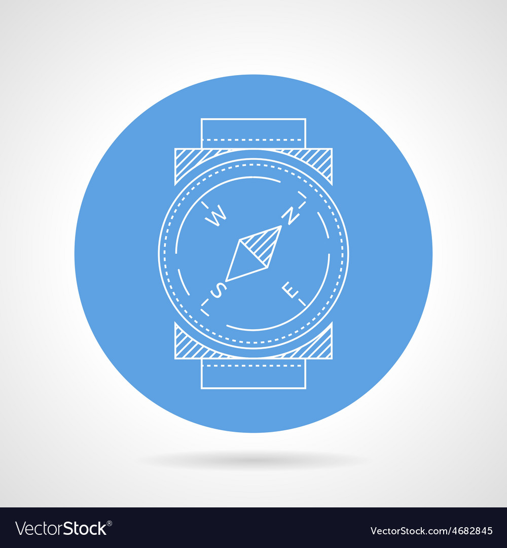 Compass blue round icon vector | Price: 1 Credit (USD $1)