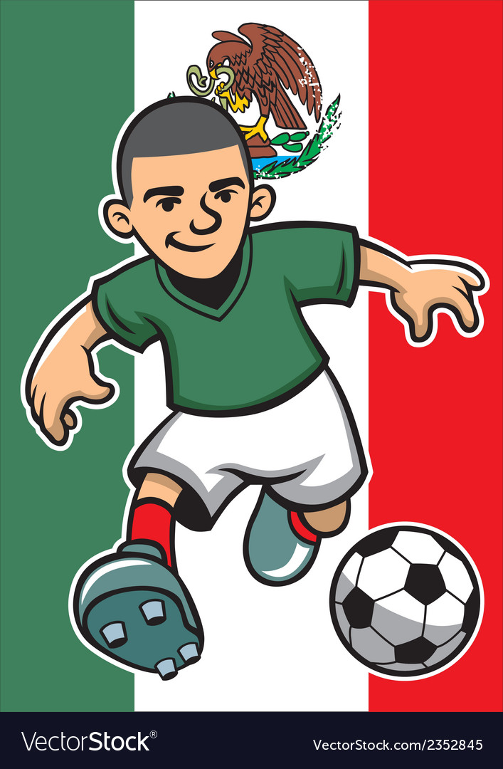 Mexico soccer player with flag background vector | Price: 1 Credit (USD $1)