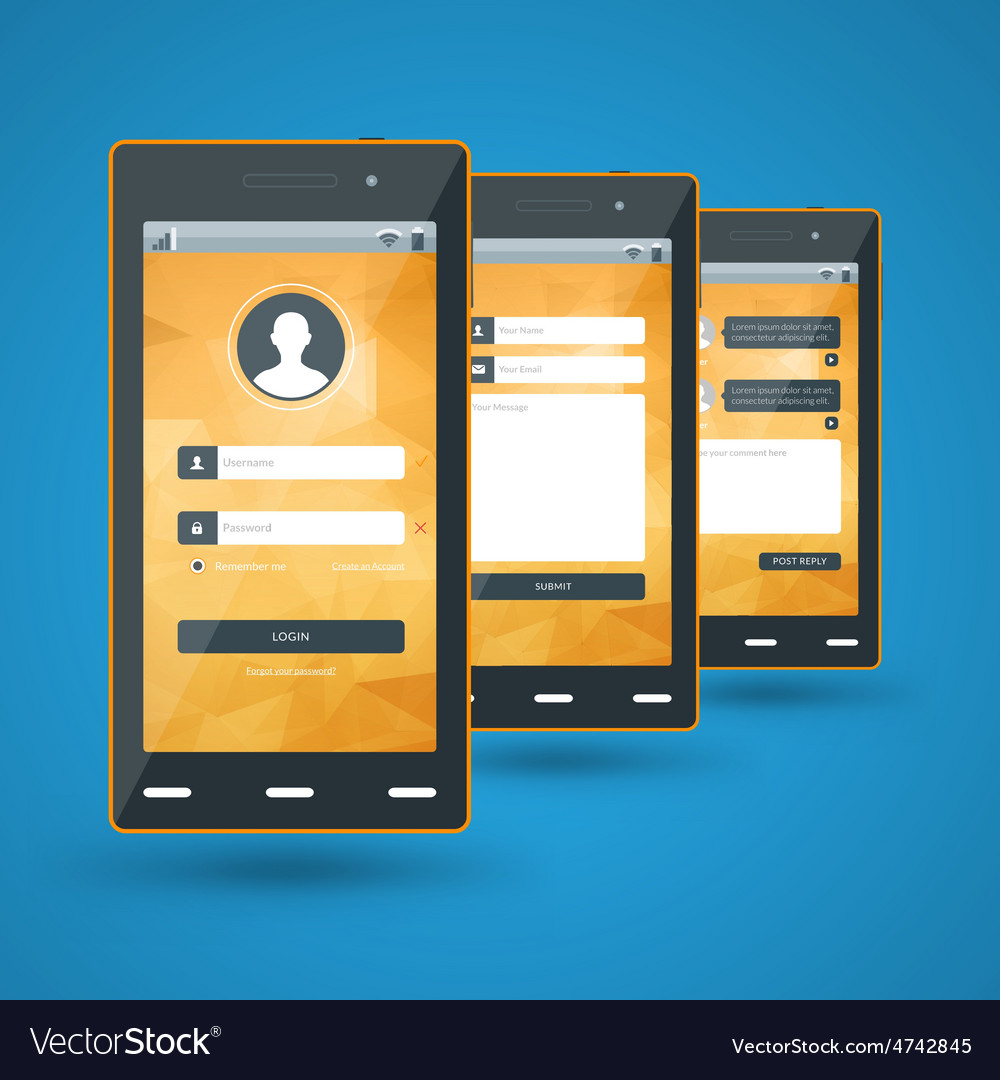 Modern smartphone flat design template for mobile vector | Price: 1 Credit (USD $1)