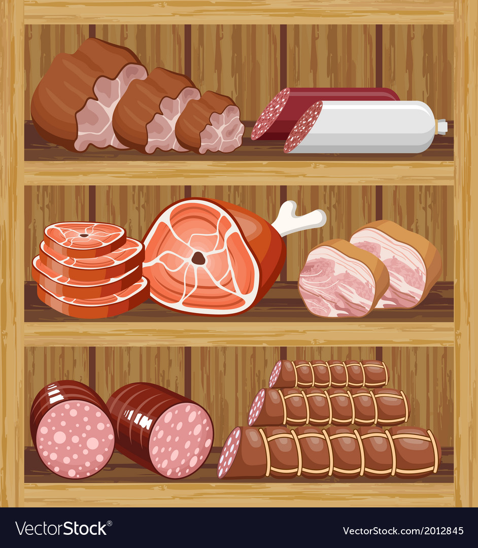 Shelfs with meat products vector | Price: 3 Credit (USD $3)
