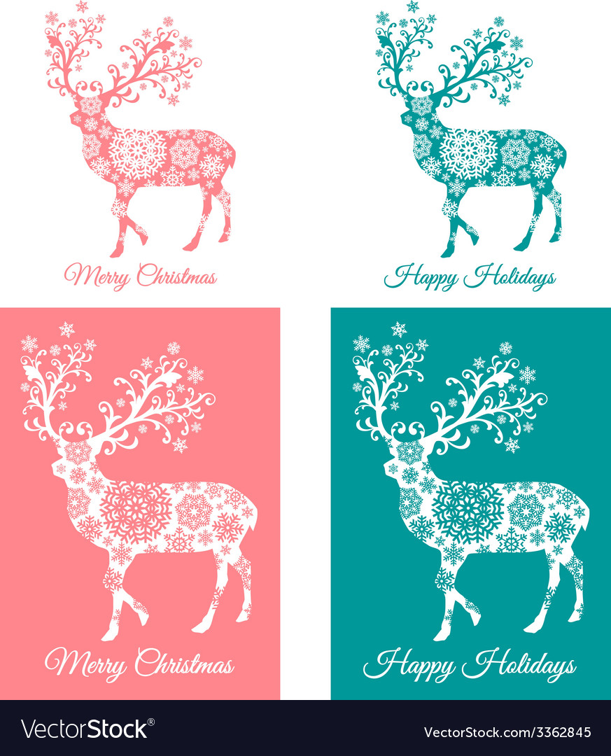 Teal and coral christmas cards with deer vector | Price: 1 Credit (USD $1)