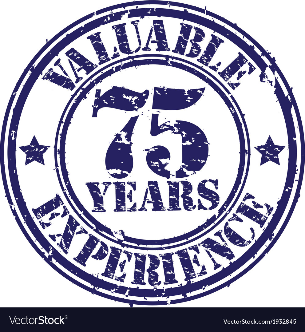Valuable 75 years of experience rubber stamp vect vector | Price: 1 Credit (USD $1)