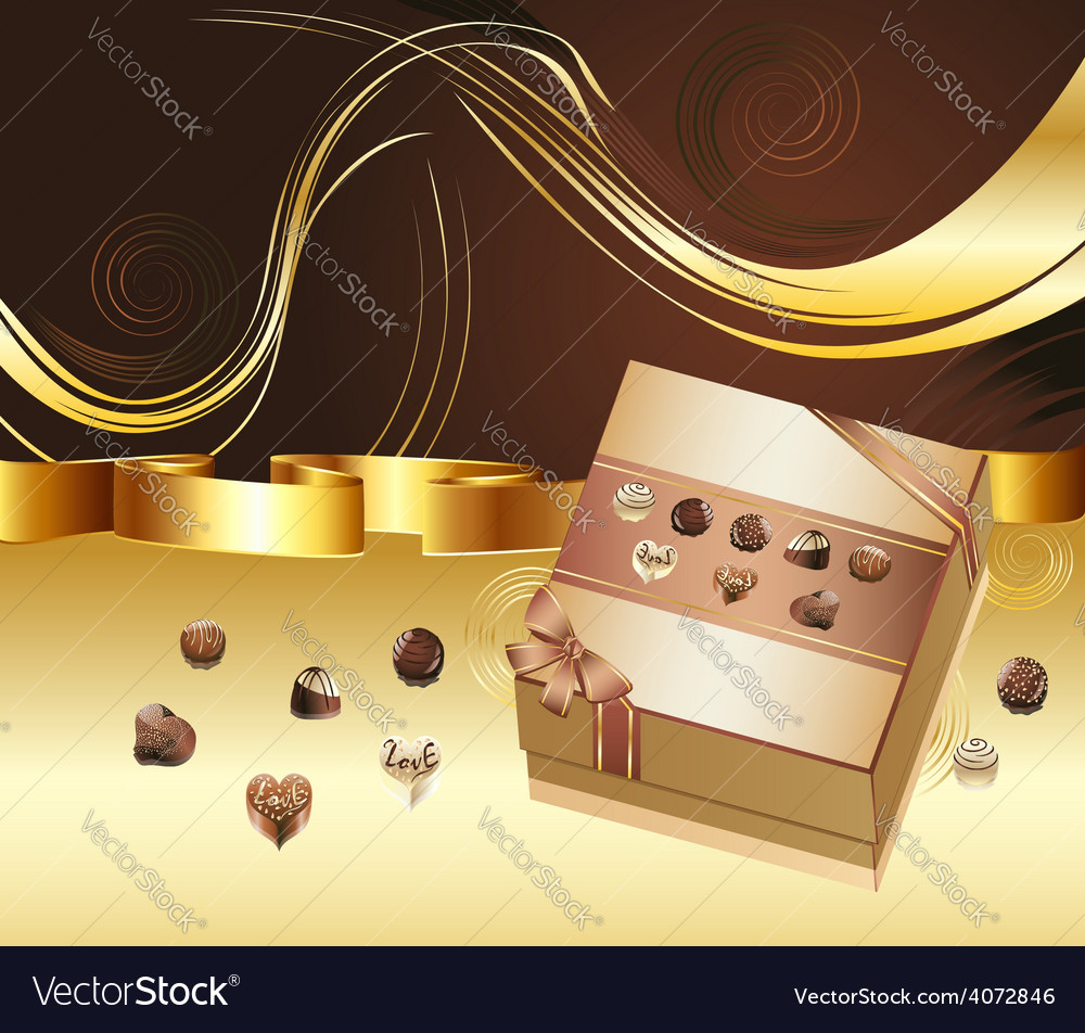 Brown background with chocolate box5 vector | Price: 3 Credit (USD $3)