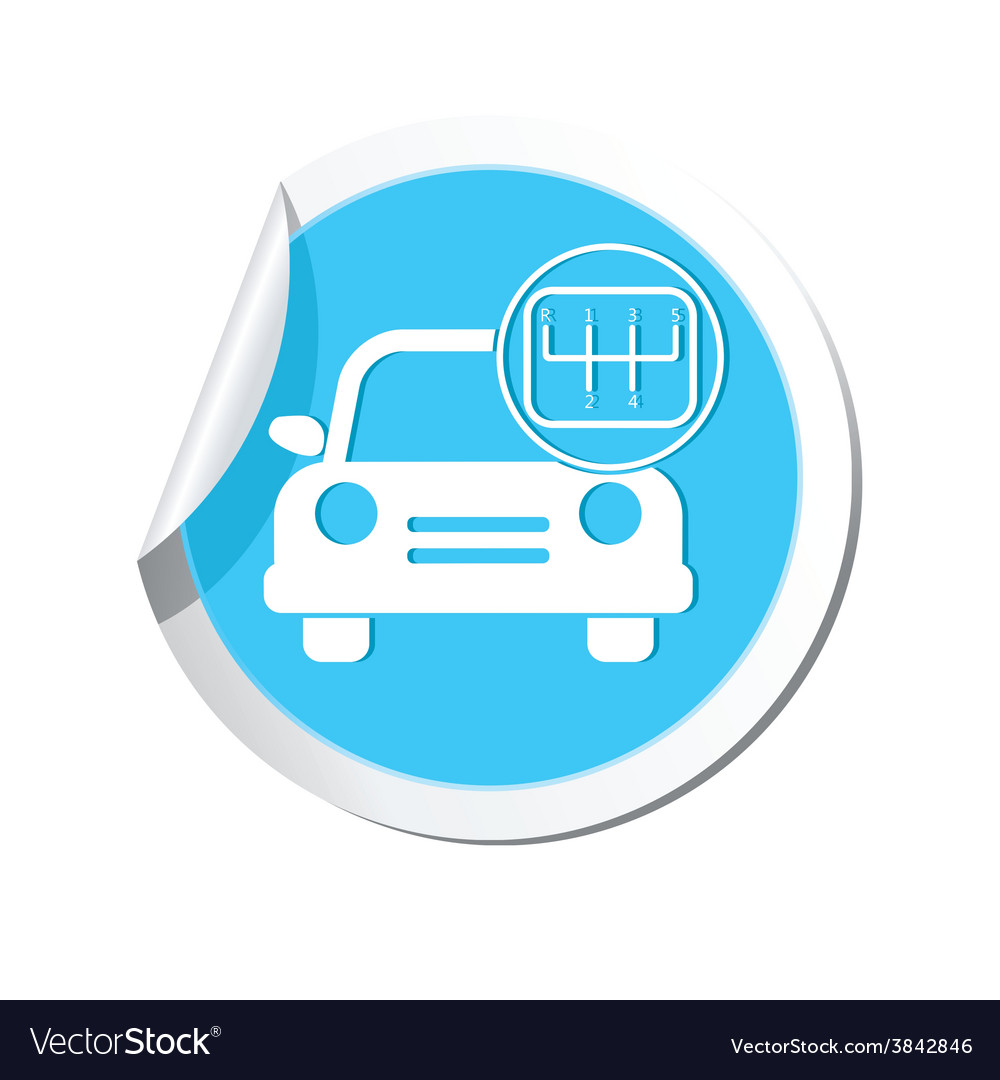 Cars transmission blue label vector | Price: 1 Credit (USD $1)