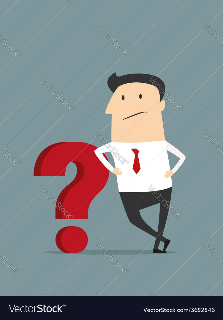 Cartoon flat businessman with red question mark vector   Price: 1 Credit (USD $1)