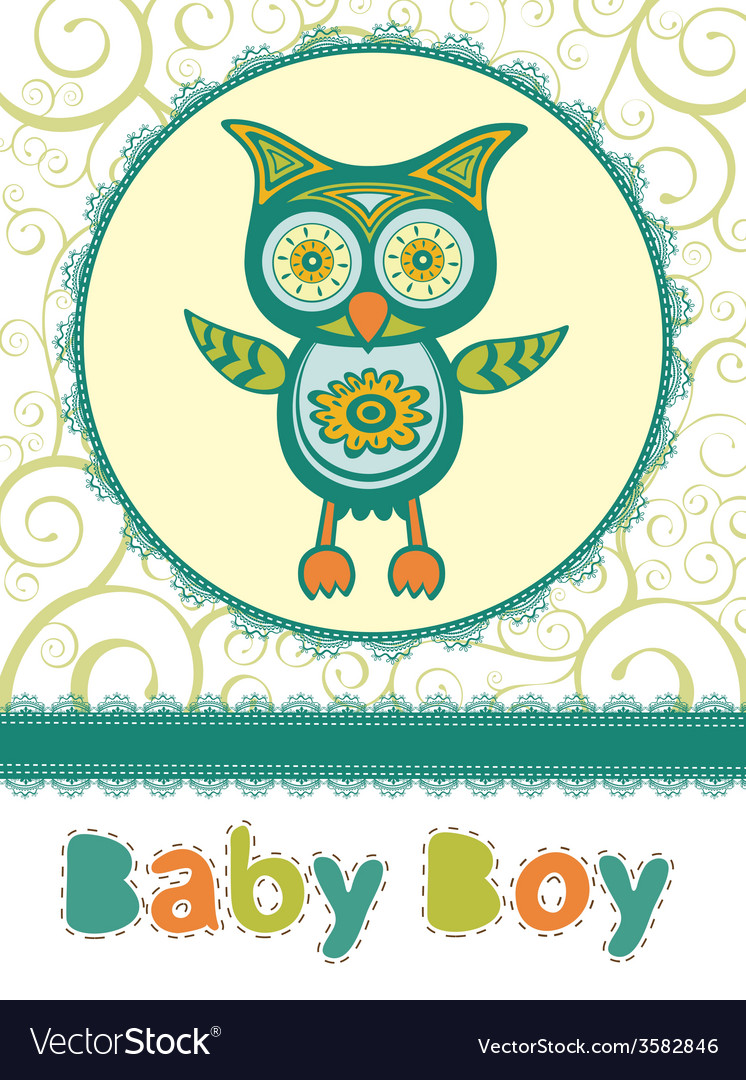 Colorful baby shower card with cute owl vector | Price: 1 Credit (USD $1)