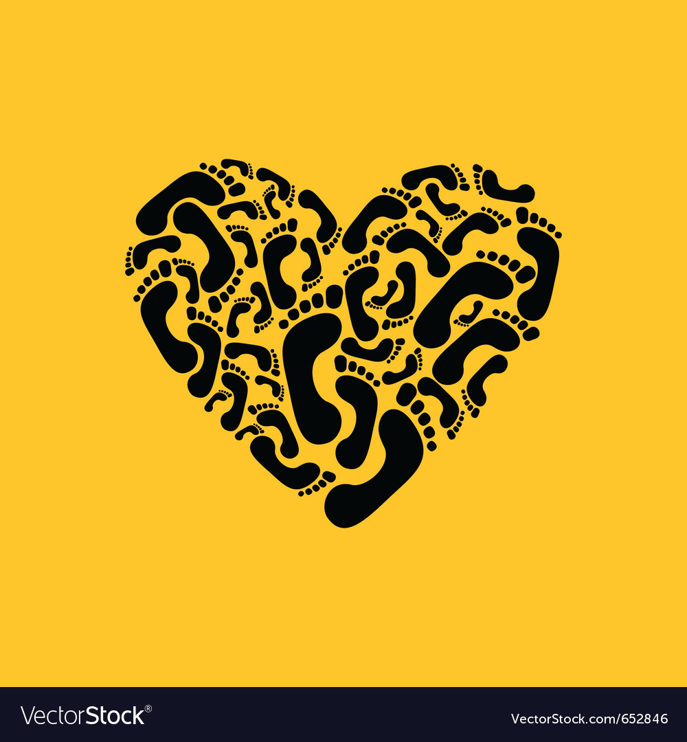 Footprint heart vector | Price: 1 Credit (USD $1)