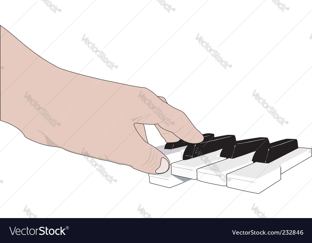 Hand and music keyboards vector | Price: 1 Credit (USD $1)