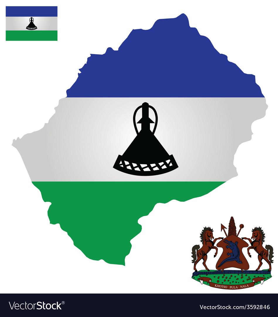 Kingdom of lesotho flag vector | Price: 1 Credit (USD $1)