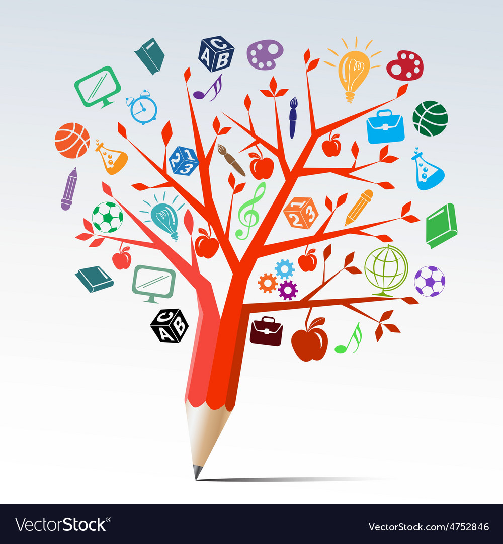 Red apple tree pencil with education symbols vector | Price: 1 Credit (USD $1)