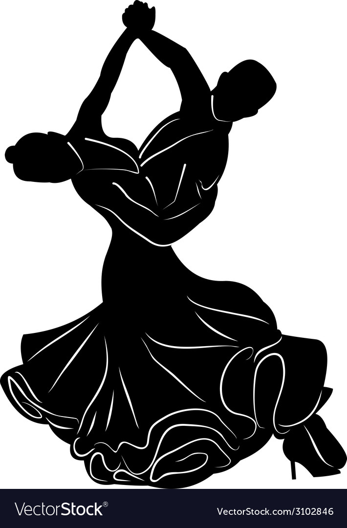 Silhouette of dancing couple vector | Price: 1 Credit (USD $1)