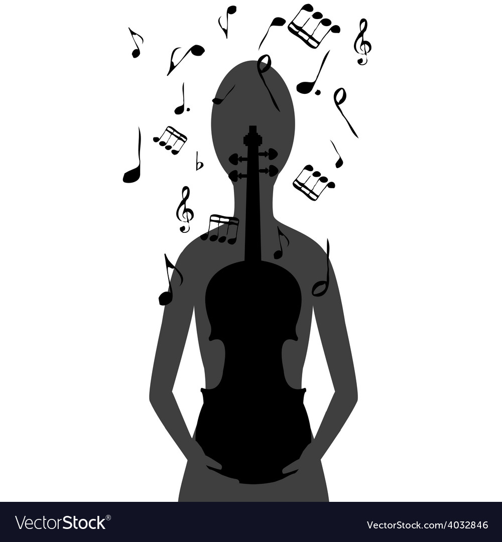 Stylized woman with violin and musical notes vector | Price: 1 Credit (USD $1)