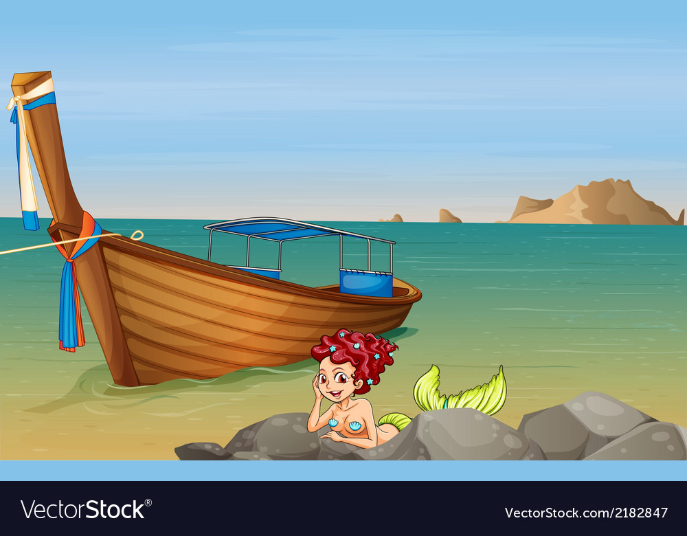 A mermaid at the sea near the wooden boat vector | Price: 1 Credit (USD $1)