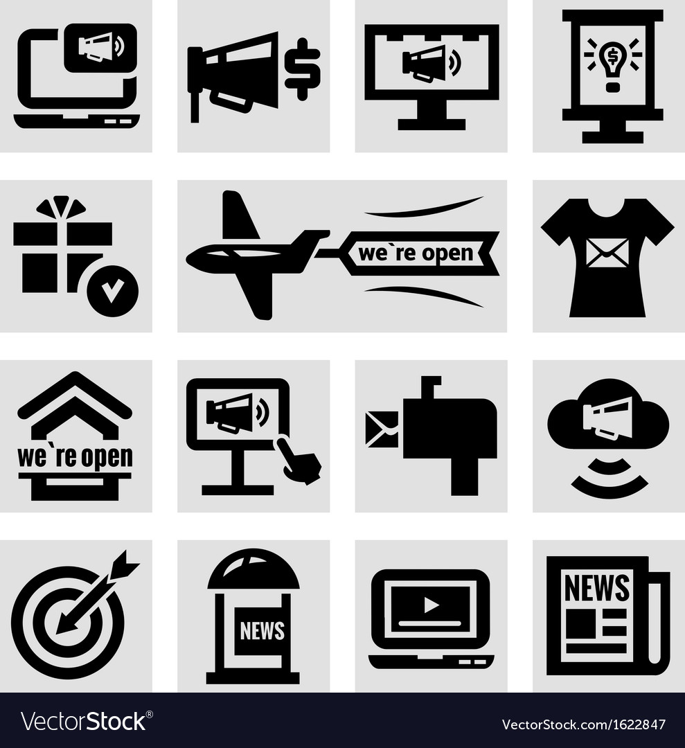 Advertising and marketing icons set vector | Price: 1 Credit (USD $1)