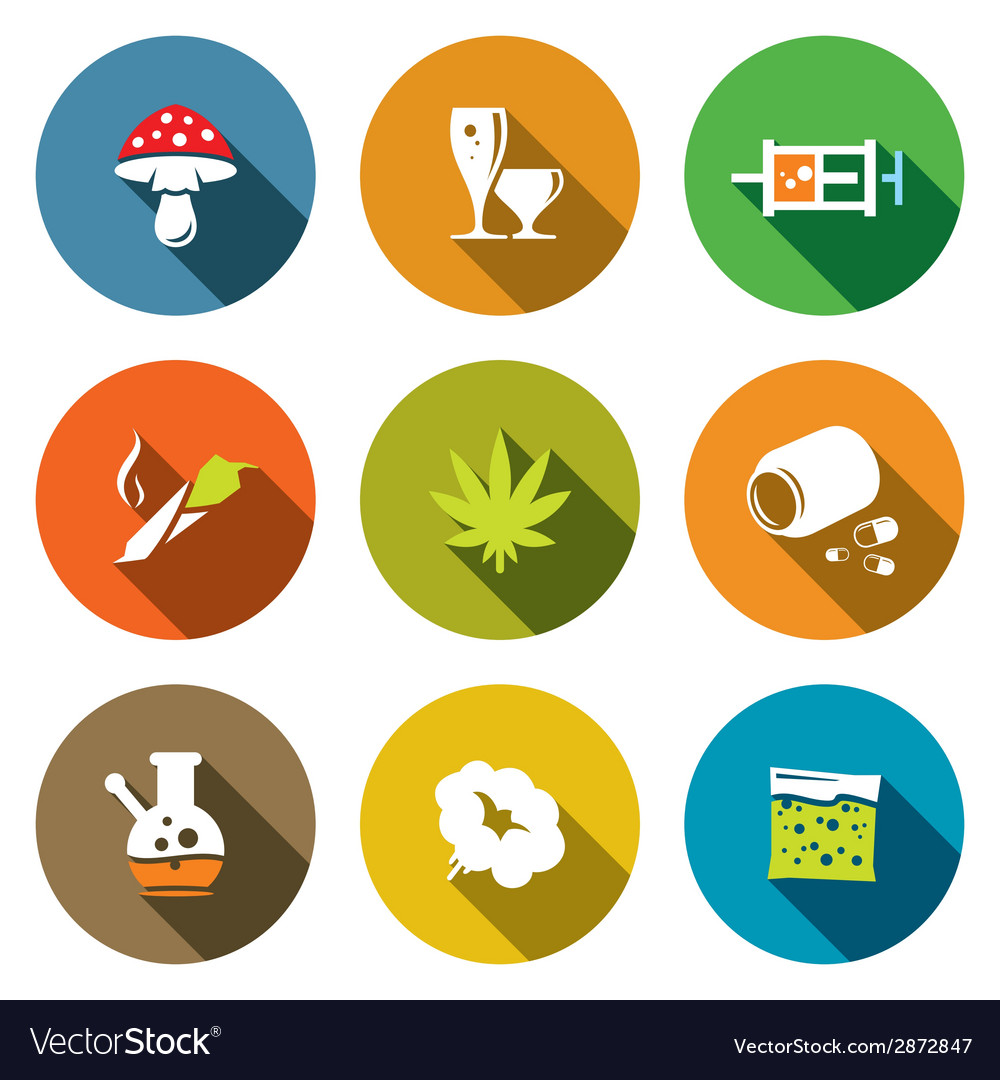 Color drugs flat icon collection vector | Price: 1 Credit (USD $1)