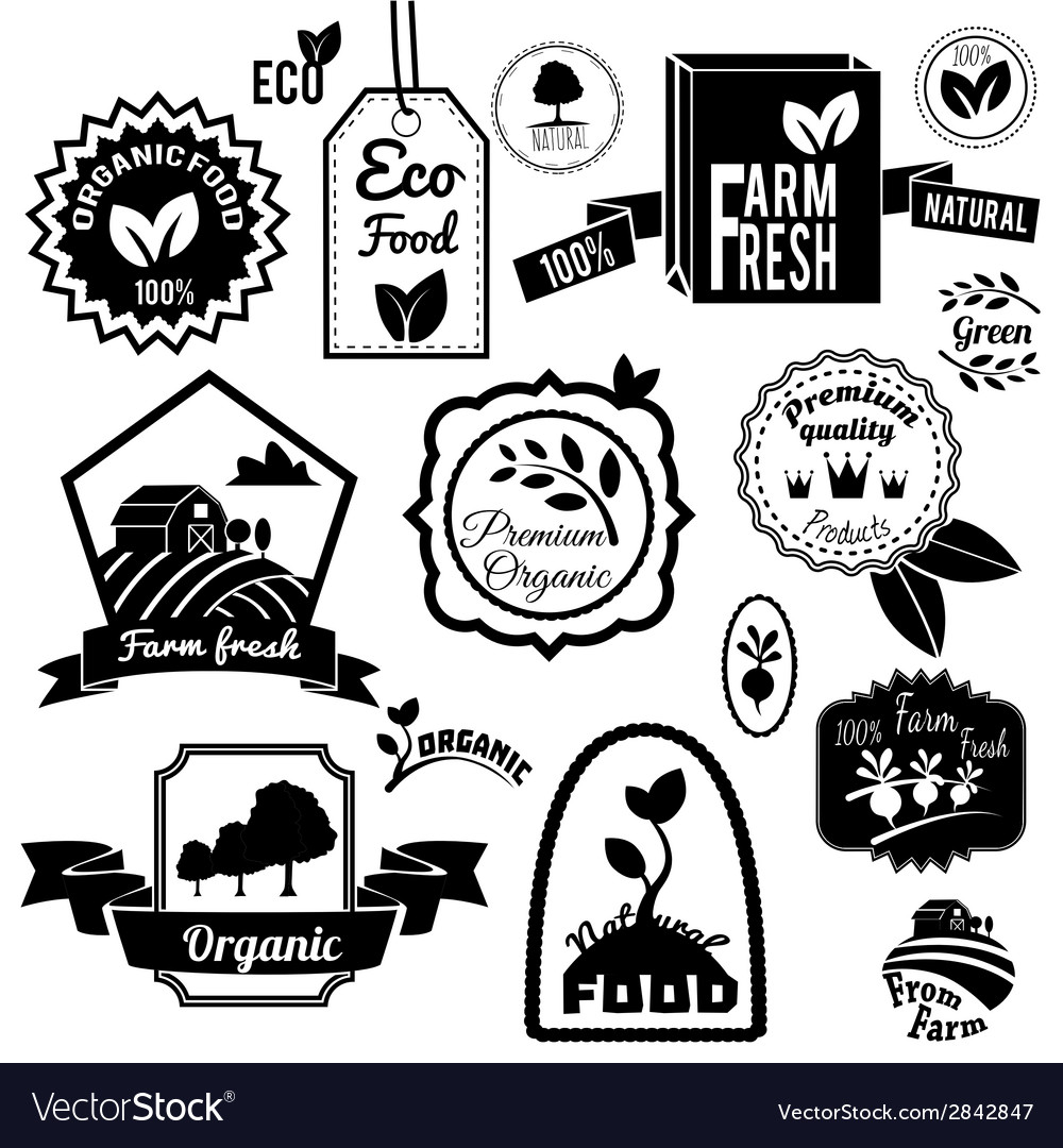 Eco labels black vector | Price: 1 Credit (USD $1)