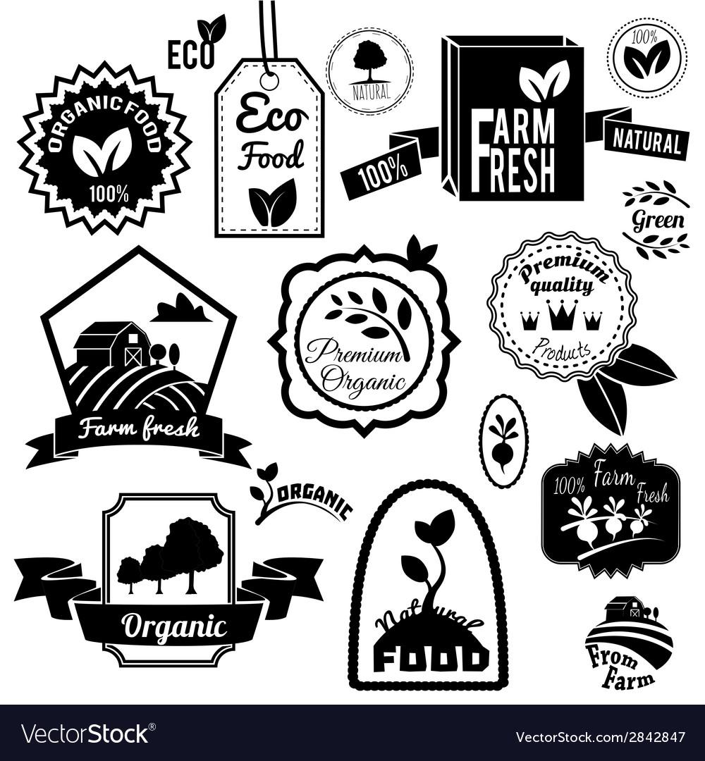 Eco labels black vector | Price: 1 Credit (USD $1)