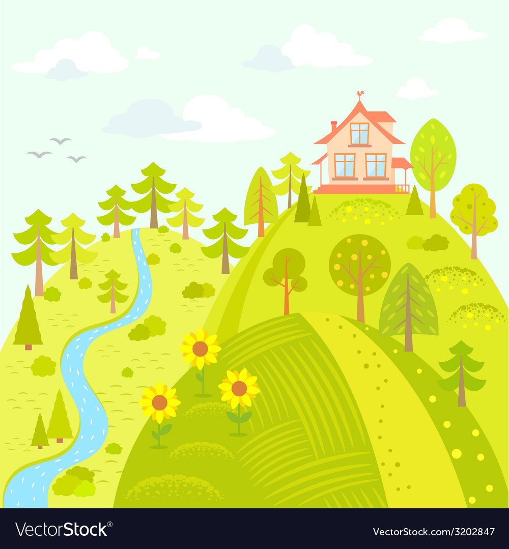 House on the hill vector | Price: 1 Credit (USD $1)