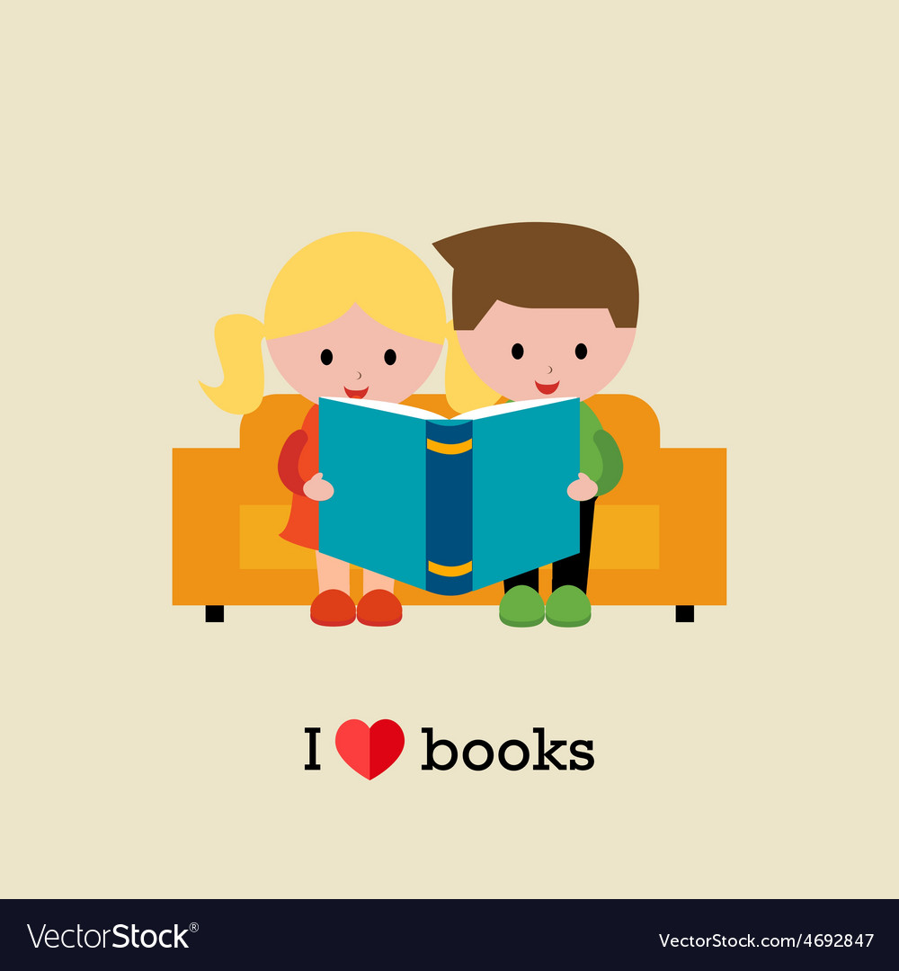 Kids sitting on sofa and reading a book vector | Price: 1 Credit (USD $1)