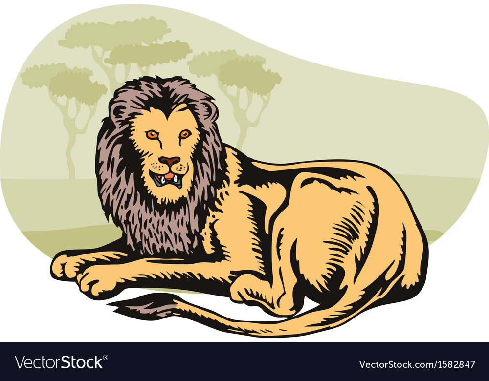 Lion big cat retro vector | Price: 1 Credit (USD $1)