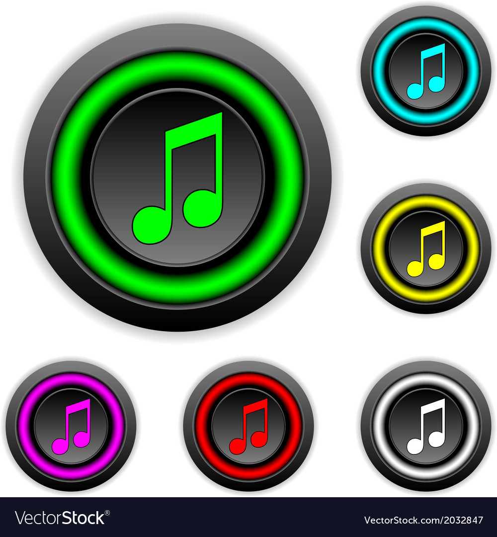 Music buttons set vector | Price: 1 Credit (USD $1)