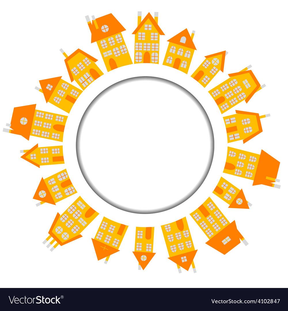 Orange village with houses around wound banner vector | Price: 1 Credit (USD $1)