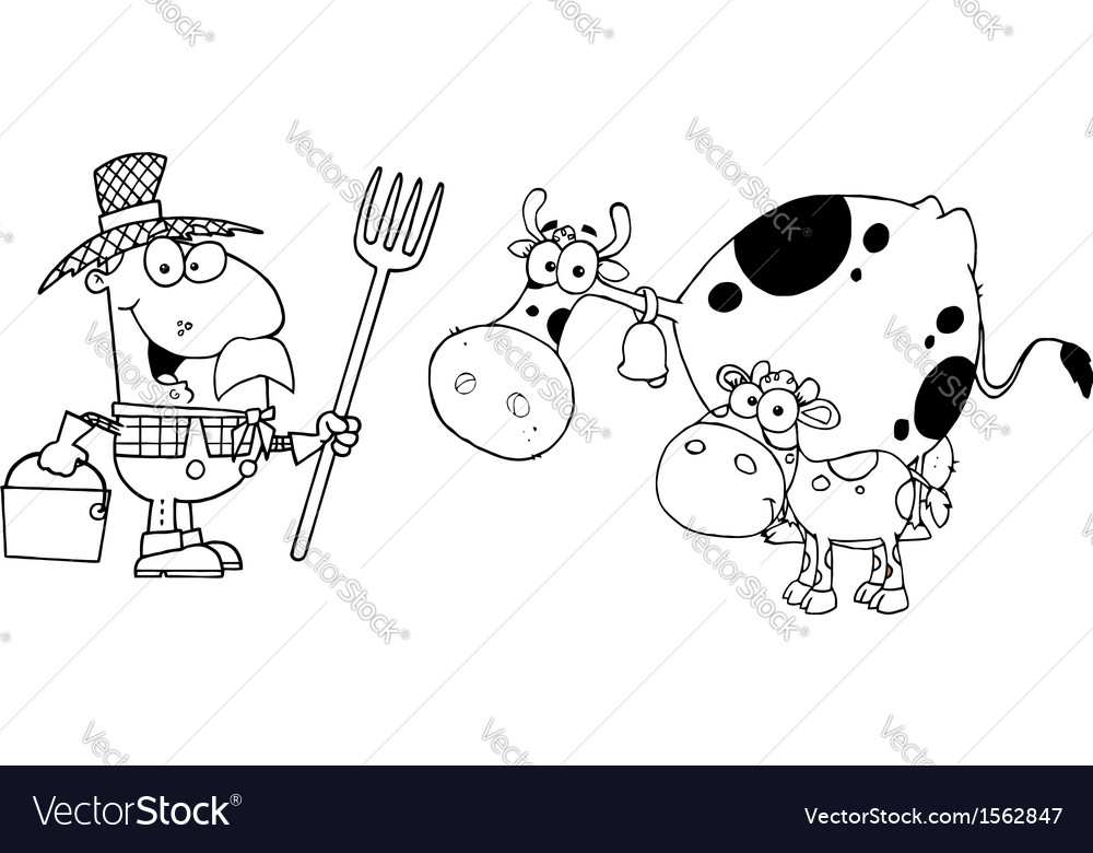 Royalty free rf clipart male farmer calf and cow vector | Price: 1 Credit (USD $1)