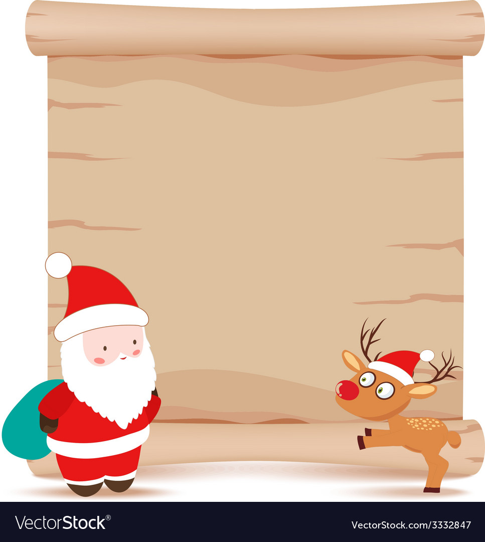 Santa claus and deer parchment sign vector | Price: 1 Credit (USD $1)