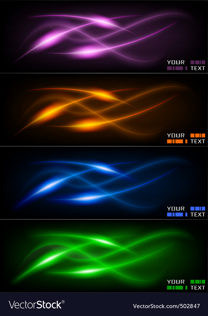 Set of dark glowing wavers vector | Price: 1 Credit (USD $1)