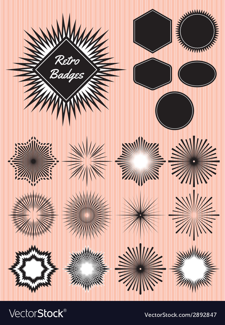 Set rays of the sun for the production of badges vector | Price: 1 Credit (USD $1)