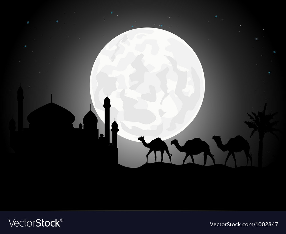 Silhouette of camel trip in the night vector | Price: 1 Credit (USD $1)
