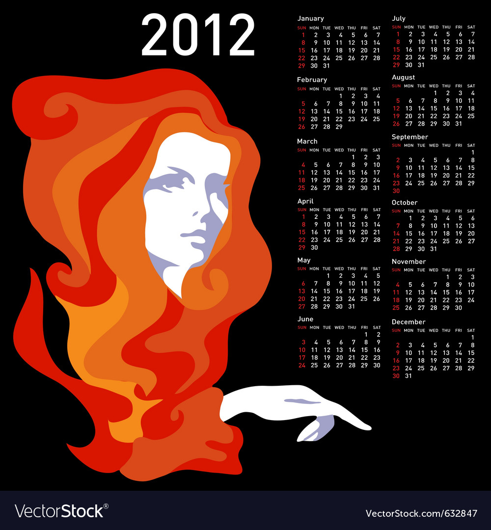 Stylish calendar with woman for 2012 week starts o vector | Price: 1 Credit (USD $1)