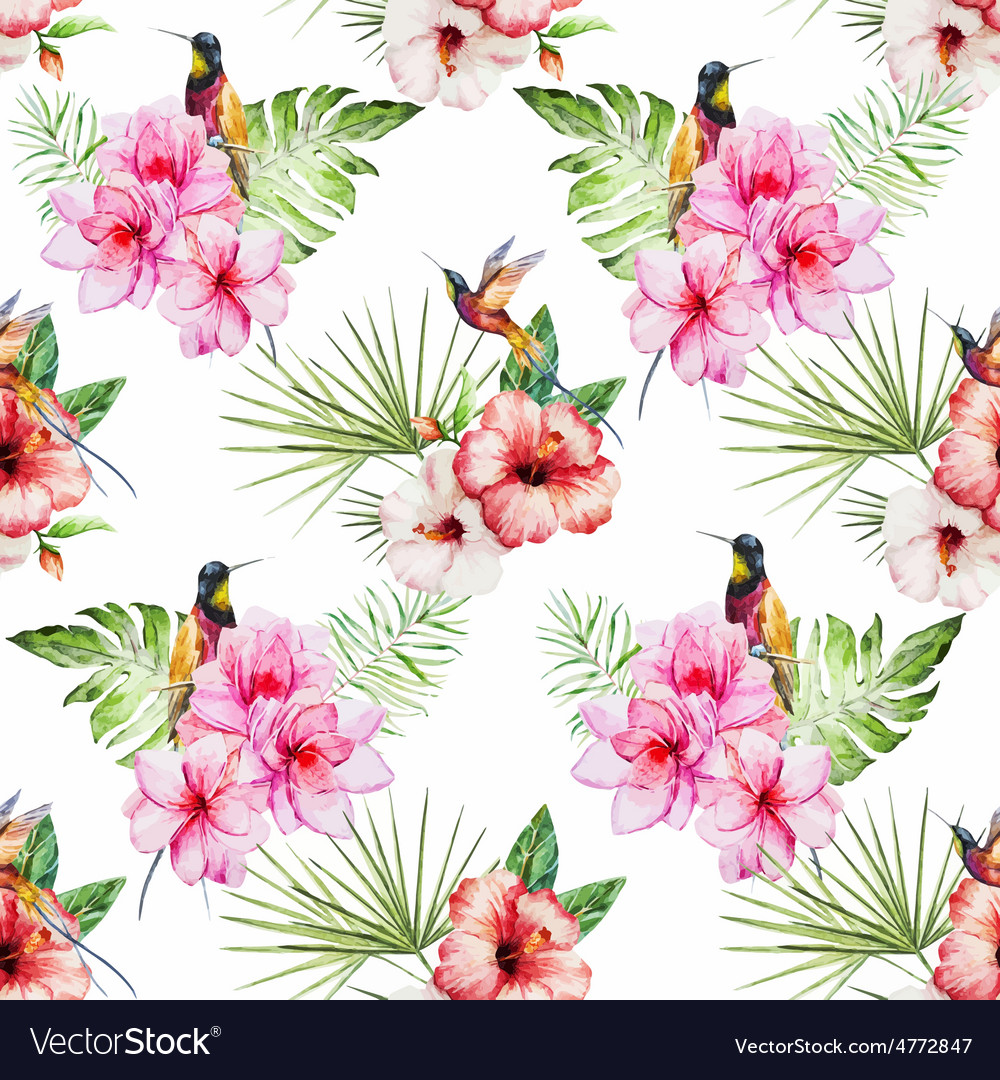 Tropical watercolor pattern vector | Price: 1 Credit (USD $1)