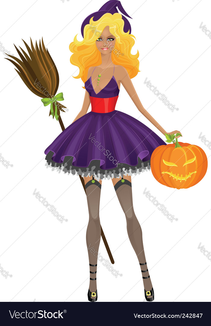 Witch with pumpkin vector | Price: 1 Credit (USD $1)