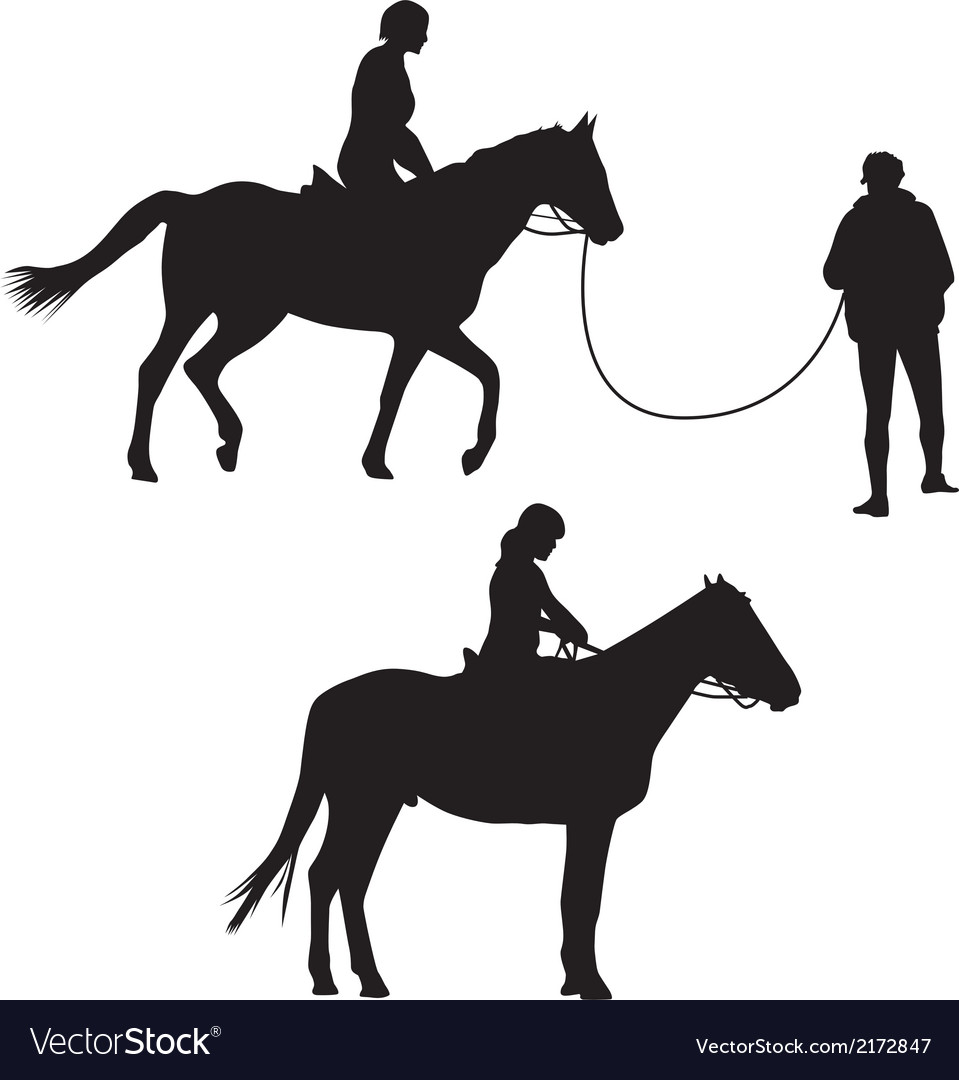 Woman on the horse silhouette vector | Price: 1 Credit (USD $1)