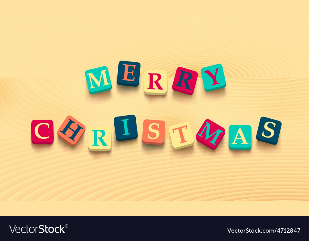 Words merry christmas with colorful blocks vector | Price: 1 Credit (USD $1)