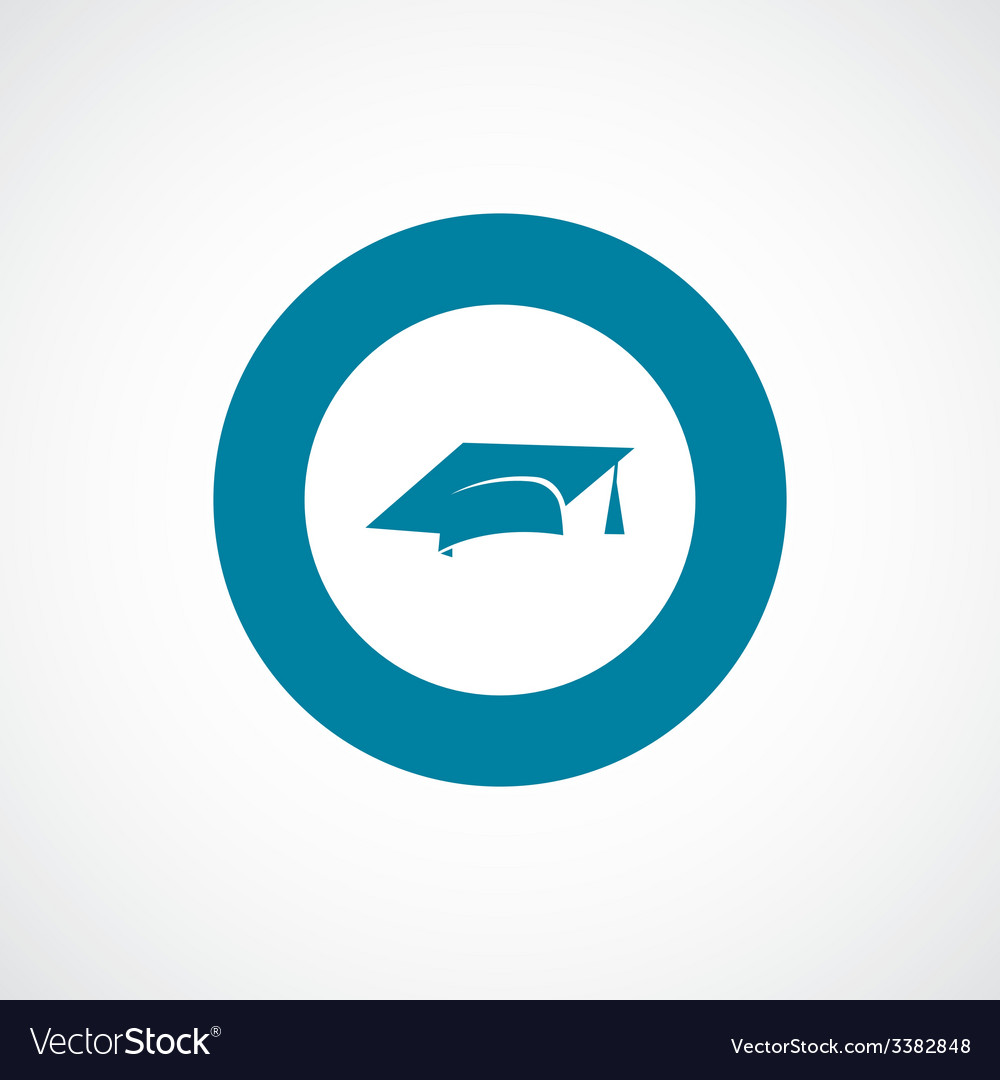 Education bold blue border circle icon vector | Price: 1 Credit (USD $1)