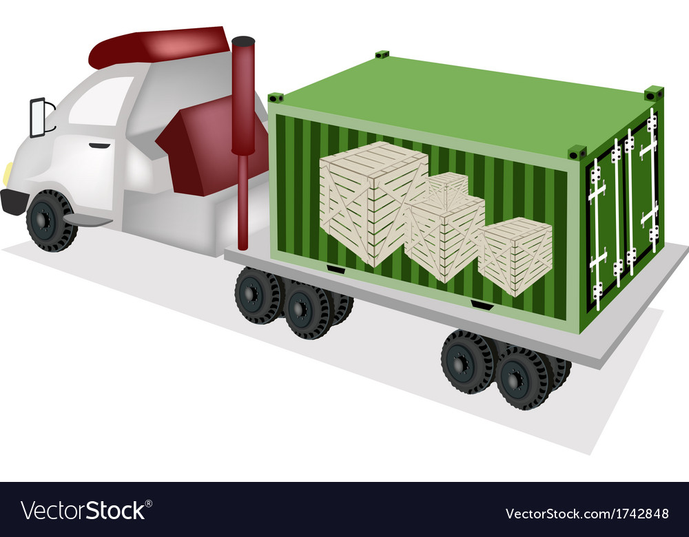 Flatbed trailer loading wooden crates in container vector | Price: 1 Credit (USD $1)