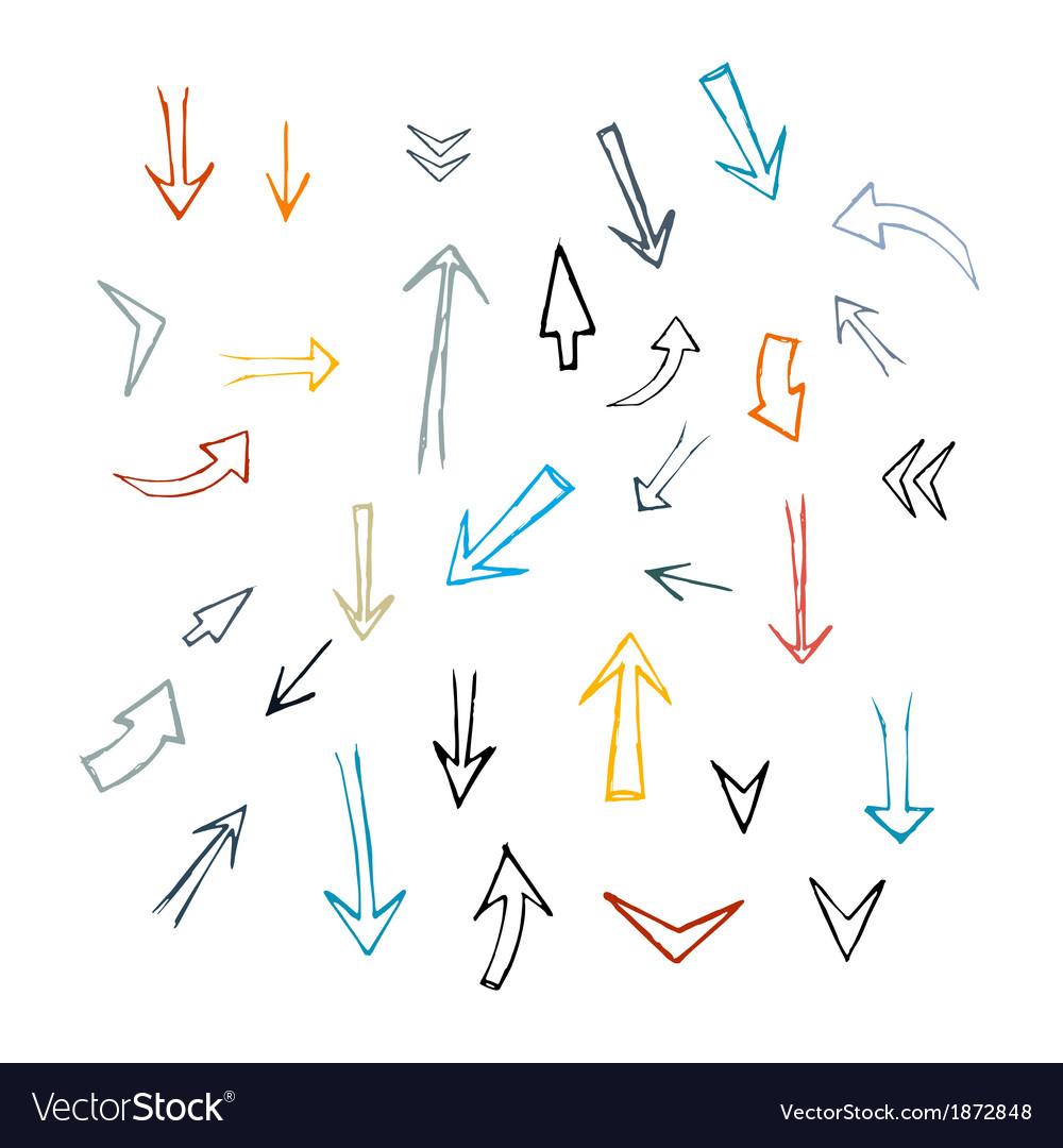 Hand drawn arrows isolated on white background vector | Price: 1 Credit (USD $1)