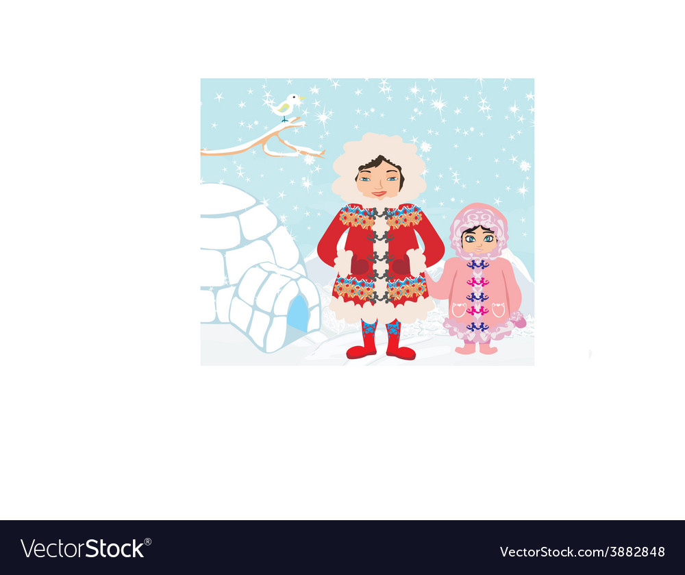 Mom and daughter standing at the igloo vector | Price: 1 Credit (USD $1)