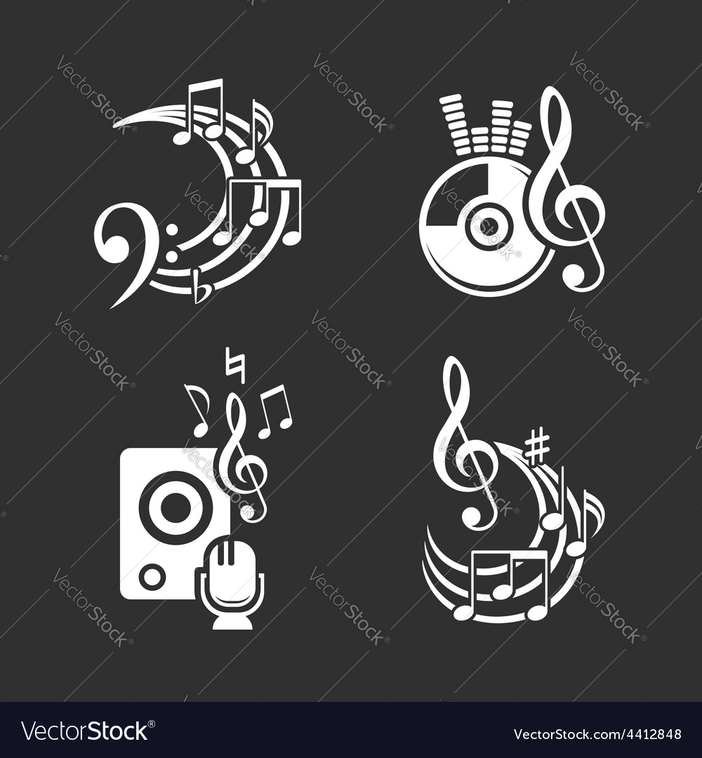Music design elements and note icons set vector | Price: 1 Credit (USD $1)