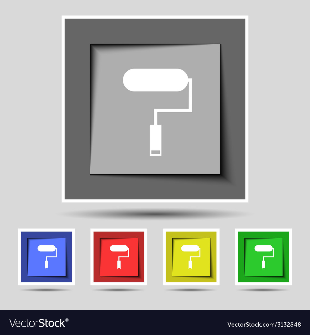 Paint roller sign icon painting tool symbol set of vector | Price: 1 Credit (USD $1)
