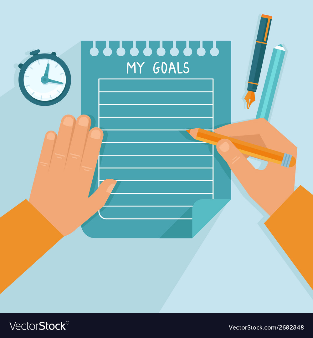 Personal goals list in flat style vector | Price: 1 Credit (USD $1)