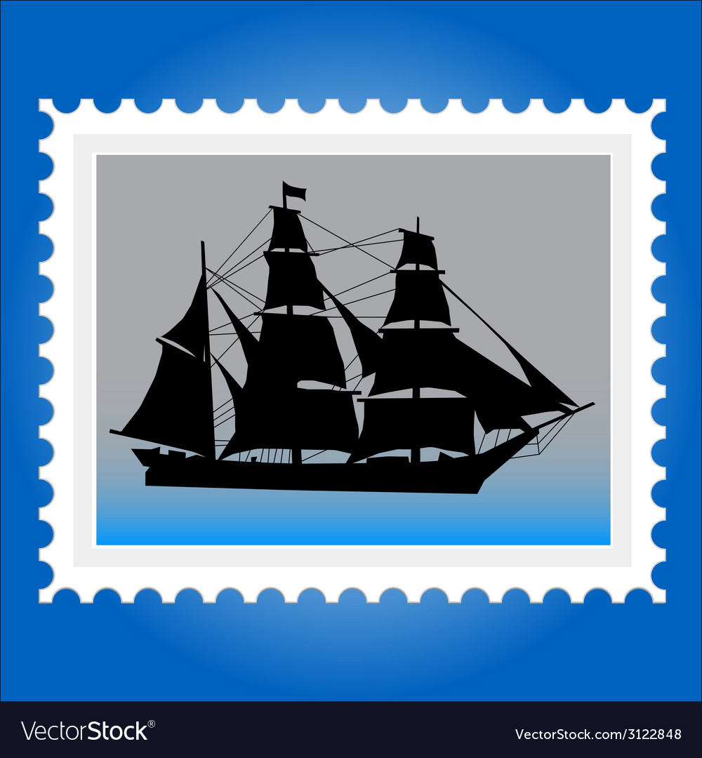 Postage stamps with ships vector | Price: 1 Credit (USD $1)