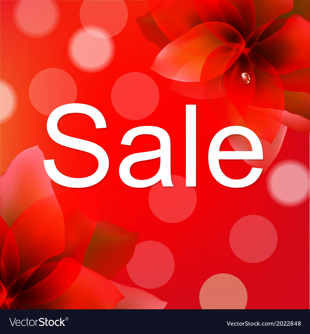 Red sale poster with flower vector | Price: 1 Credit (USD $1)