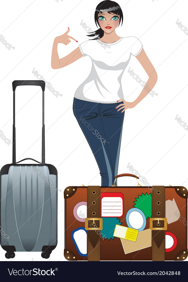 Traveling girl vector | Price: 1 Credit (USD $1)